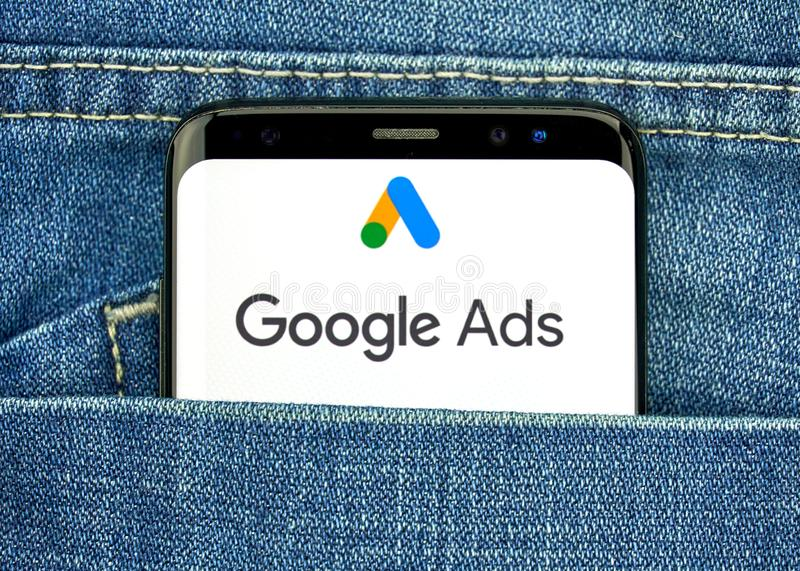 Google Ads new logo and app. MONTREAL, CANADA - SEPTEMBER 30, 2018: Google Ads new logo and app on a Samsung s8 screen. Google Ads, formerly known as Adwords, is royalty free stock images