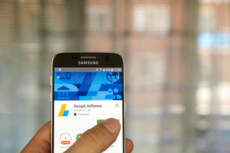 Google Adsense app. MONTREAL, CANADA - JUNE 23, 2016 : Google Adsense app on Samsung S7 screen. AdSense is a program that allows publishers in the Google Network stock photo