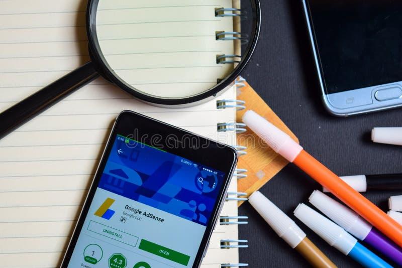 Google adsense App on Smartphone screen. BEKASI, WEST JAVA, INDONESIA. AUGUST 17, 2018 : Google adsense App on Smartphone screen. Google adsense is a freeware stock images