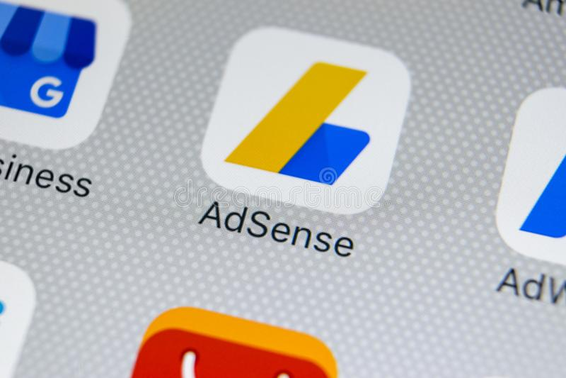 Google AdSense application icon on Apple iPhone X screen close-up. Google AdSense app icon. Google AdSense application. Social. Sankt-Petersburg, Russia, March 1 stock photos