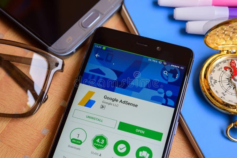 Google Adsense dev application on Smartphone screen. BEKASI, WEST JAVA, INDONESIA. SEPTEMBER 1, 2018 : Google Adsense dev application on Smartphone screen royalty free stock image