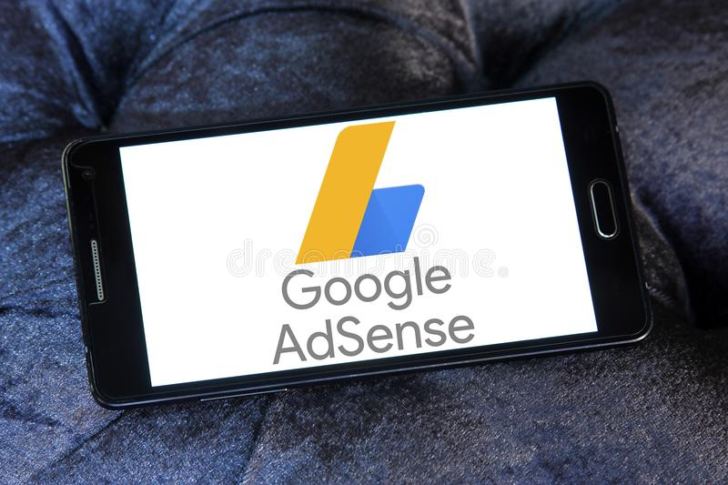 Google AdSense logo. Logo of Google AdSense on samsung mobile. Google AdSense is a program run by Google that allows publishers in the Google Network of content stock image