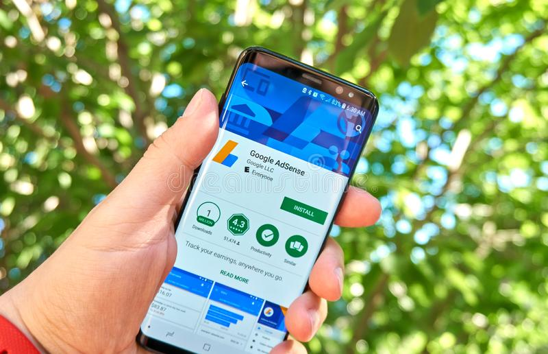 Google Adsense mobile app on Samsung s8. MONTREAL, CANADA - August 28, 2018: Google Adsense android app on Samsung s8 screen stock photography