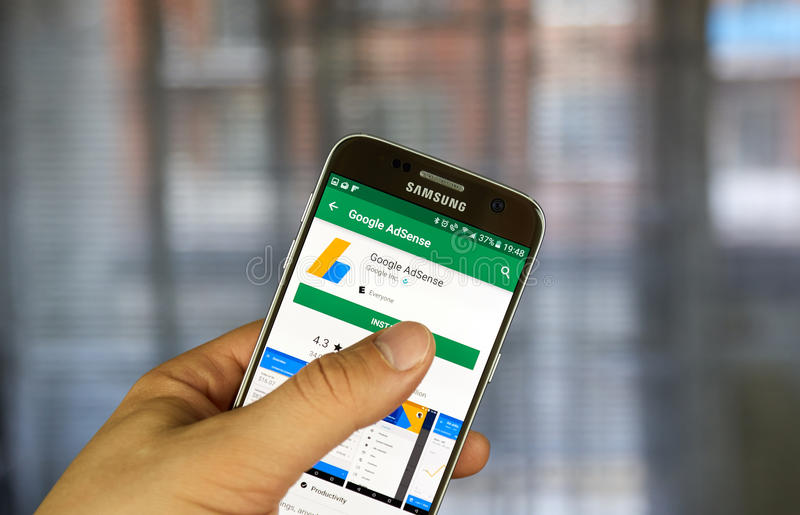 Google Adsense mobile application. MONTREAL, CANADA - JULY 24, 2017 : Google Adsense mobile application. AdSense is a program that allows publishers in the stock photo
