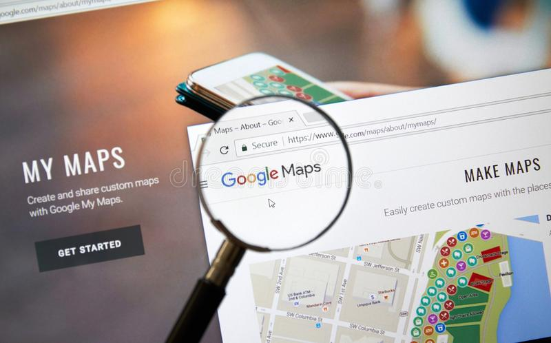 Google Adsense mobile application. MONTREAL, CANADA - OCTOBER 2, 2017: Google My Maps web page. Google My Maps is a service launched by Google in April 2007 royalty free stock image