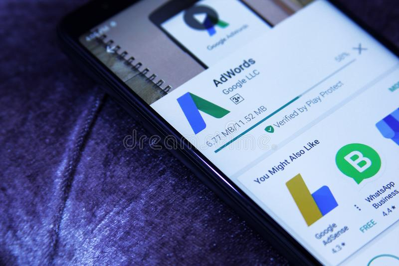 Google AdWords app fotografie stock libere da diritti