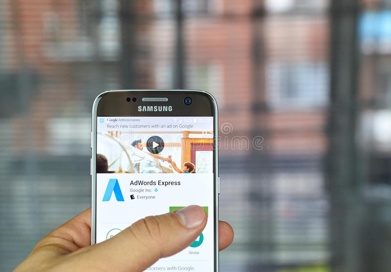 Google Adwords Express. MONTREAL, CANADA - JUNE 23, 2016 : Google Adwords Express application on Samsung S7 screen. AdWords Express helps to reach new customers royalty free stock photography