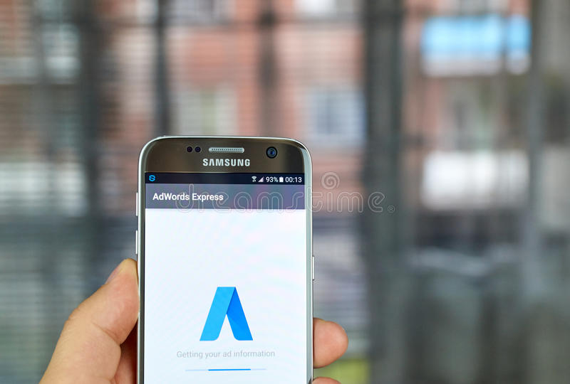 Google Adwords Express. MONTREAL, CANADA - JUNE 23, 2016 : Google Adwords Express application on Samsung S7 screen. AdWords Express helps to reach new customers stock photography