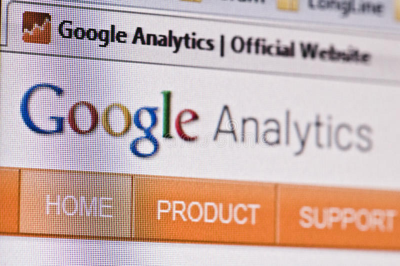 Google analytics. Close-up image of monitor with Google analytics loaded in the internet browser