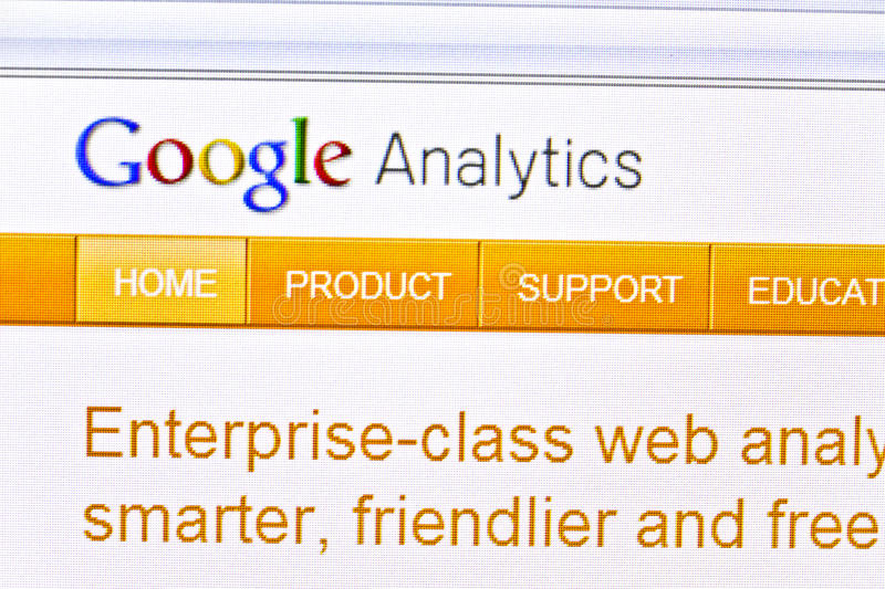 Google Analytics. Displayed on computer screen stock photography