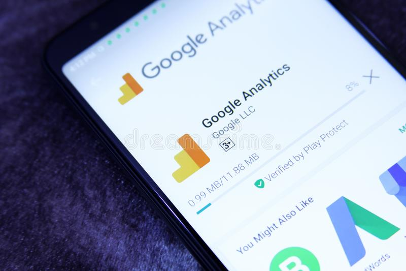 Google analytics app arkivbild