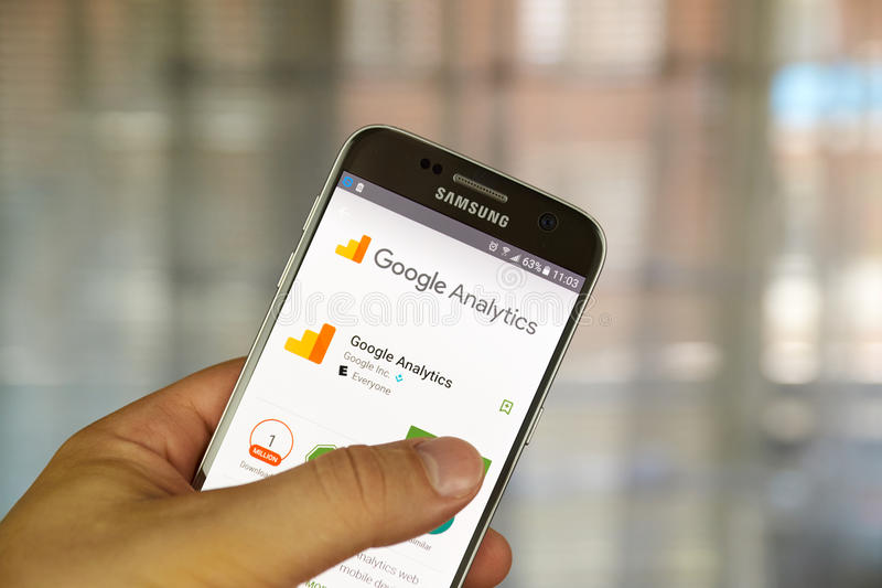Google analytics app. MONTREAL, CANADA - JUNE 23, 2016 : Google analytics application on Samsung S7 screen. Google Analytics is a freemium web analytics service royalty free stock image