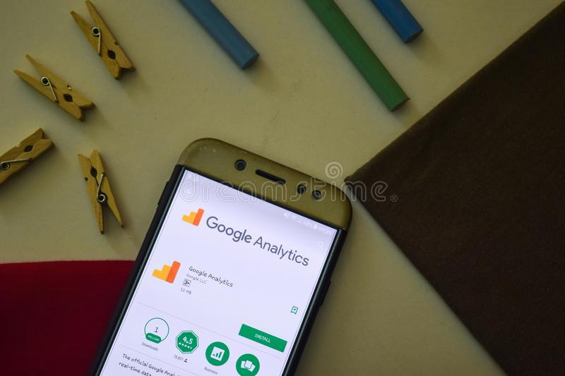 Google Analytics App on Smartphone screen. royalty free stock images