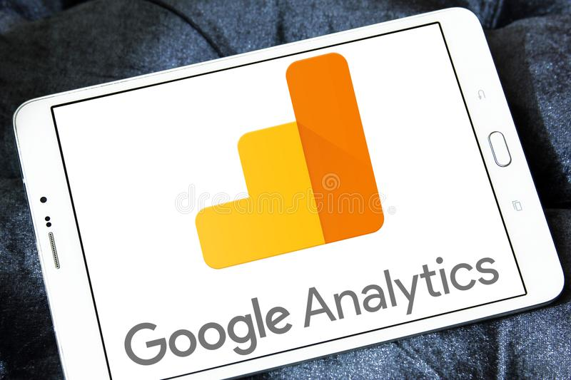 Google Analytics logo. Logo of Google Analytics on samsung tablet . Google Analytics is a freemium web analytics service offered by Google that tracks and royalty free stock images