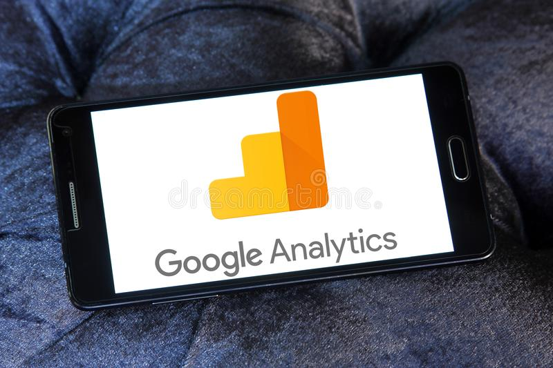Google Analytics logo. Logo of Google Analytics on samsung mobile. Google Analytics is a freemium web analytics service offered by Google that tracks and reports stock photos