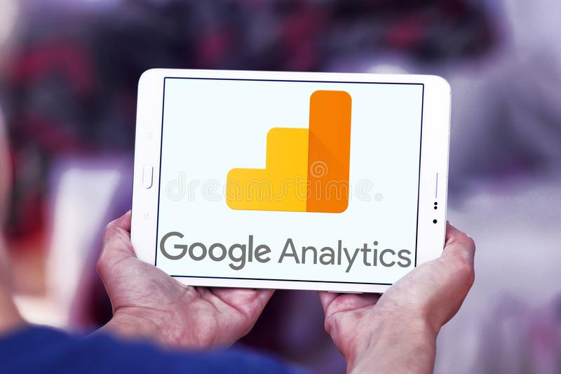 Google Analytics logo. Logo of Google Analytics on samsung tablet . Google Analytics is a freemium web analytics service offered by Google that tracks and royalty free stock photo