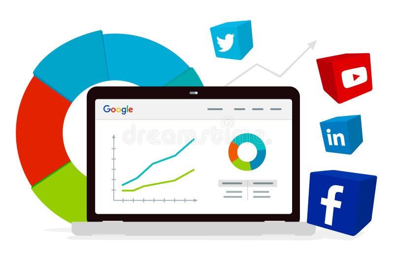 Google-Analytik und -Social Media lizenzfreie abbildung