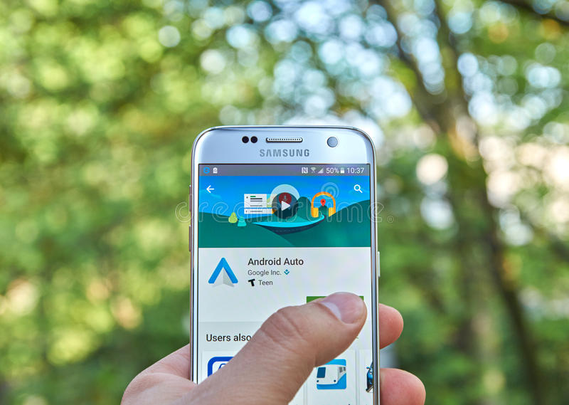 Google Android Auto app. MONTREAL, CANADA - MAY 23, 2016 : Google Android Auto application on Samsung S7 screen. The Android Auto app links new cars that support stock photography