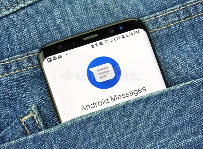 Google Android Message on a phone screen in a pocket. MONTREAL, CANADA - OCTOBER 4, 2018: Google Android Messages app on s8 screen. The app is Android's official stock photos