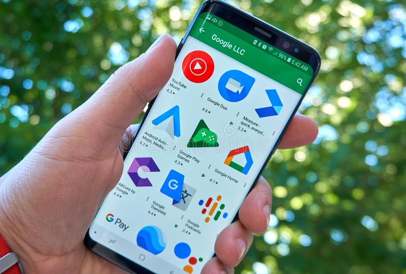 Google applications mobile app on Samsung s8. MONTREAL, CANADA - August 28, 2018: Google applications icons android app on Samsung s8 screen royalty free stock photo