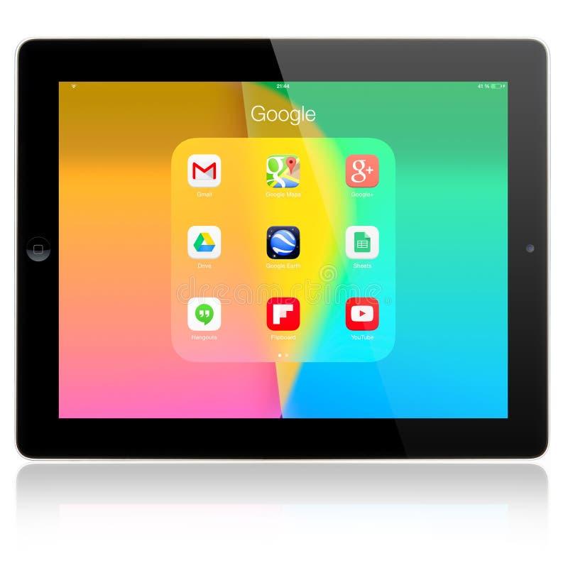Google applikationer på Apple iPadluft royaltyfri fotografi