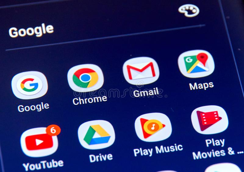 Google apps icons on Samsung S8 screen. MONTREAL, CANADA - NOVEMBER 12, 2017: Google apps icons on Samsung S8 screen. Google LLC is an American multinational royalty free stock photography