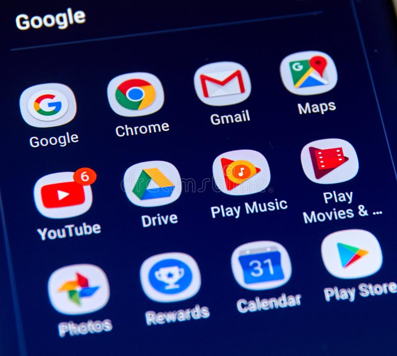 Google apps icons on Samsung S8 screen. MONTREAL, CANADA - NOVEMBER 12, 2017: Google apps icons on Samsung S8 screen. Google LLC is an American multinational stock photography