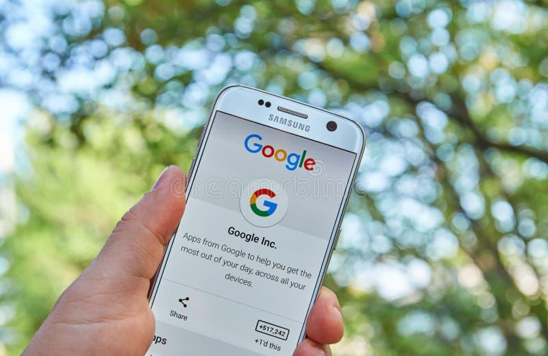 Google Apps na Samsung S7 fotografia royalty free