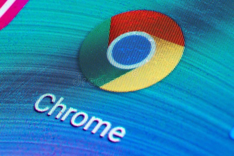 Google Chrome icon on mobile screen royalty free stock photos