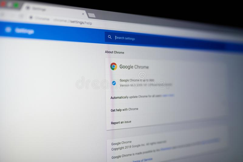 Google chrome internet browser. New york, USA - May 25, 2018: Google chrome internet browser menu on laptop screen close up royalty free stock photography