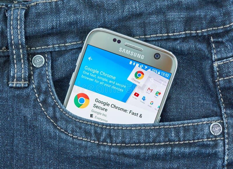 Google Chrome mobile application on screen of Samsung. MONTREAL, CANADA - SEPTEMBER 8, 2018: Google Chrome mobile app. Google Chrome for Mobile is a mobile stock photos