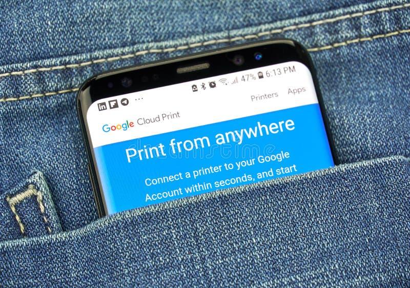 Google Cloud Print na telefonu ekranie w kieszeni obrazy stock