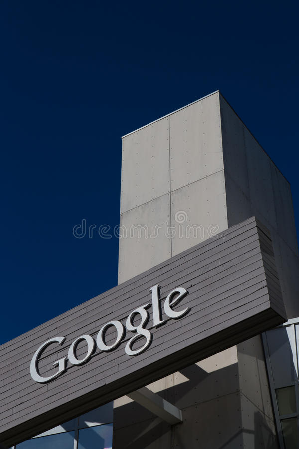 Google Corporate Headquarters and Logo. MOUNTAIN VIEW, CA/USA - FEBRUARY 1, 2014: Exterior view of a Google's Googleplex Corporate headquarters. Google is an royalty free stock photo