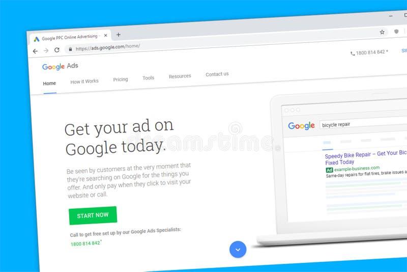 Google-de Advertenties betalen per klikppc de homepage van de reclamewebsite royalty-vrije stock afbeelding