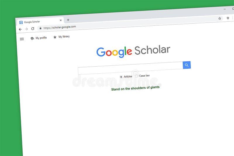 Google-de homepage van de Geleerdenwebsite royalty-vrije stock foto