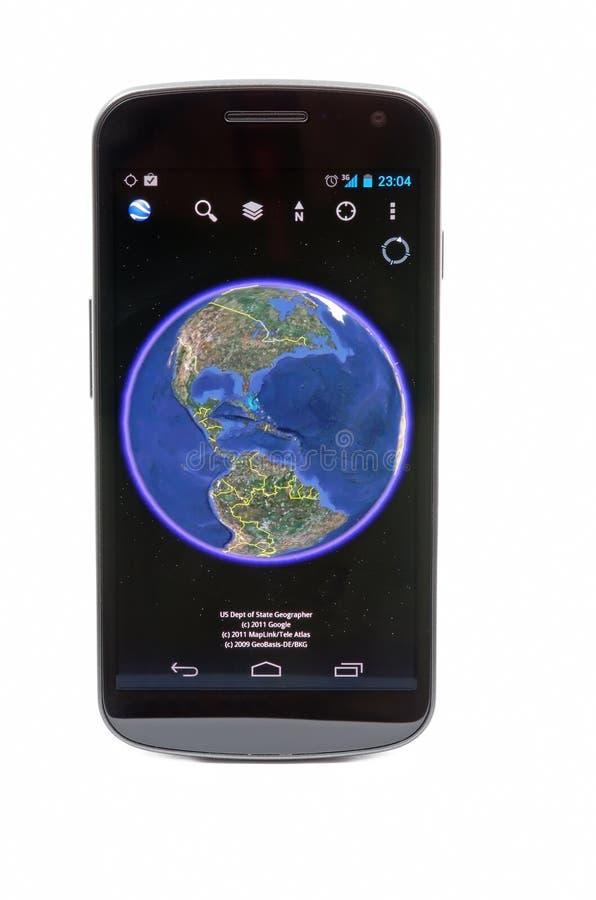 Google Earth. On Samsung Galaxy Nexus stock image