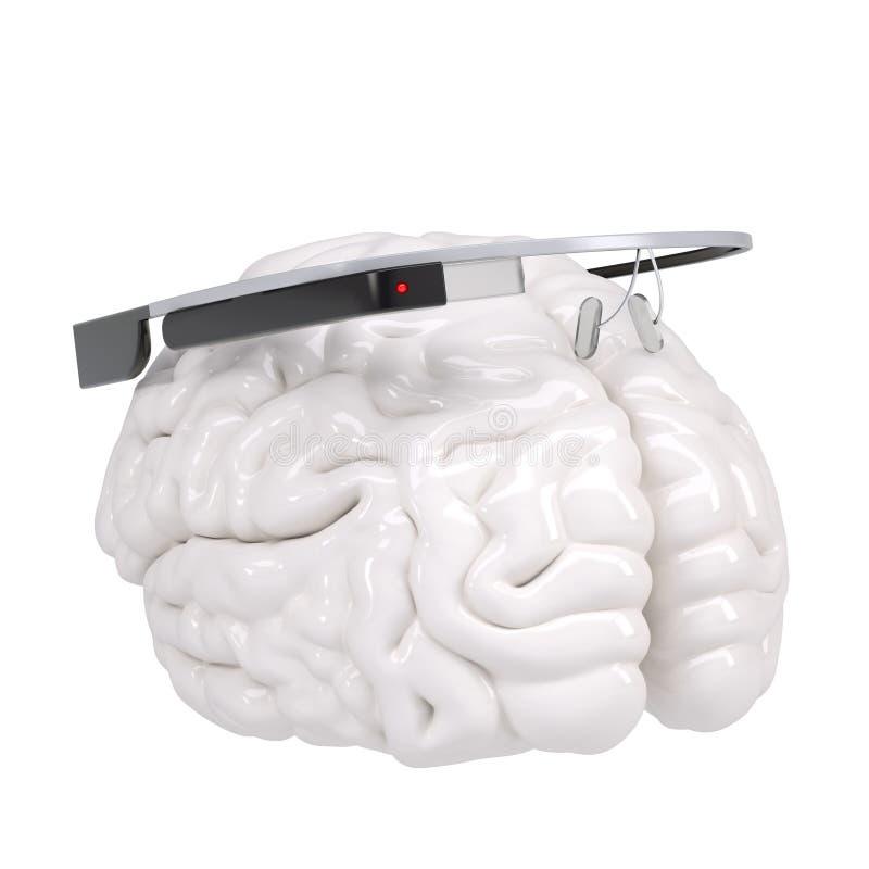 Google exponeringsglas och hjärna stock illustrationer