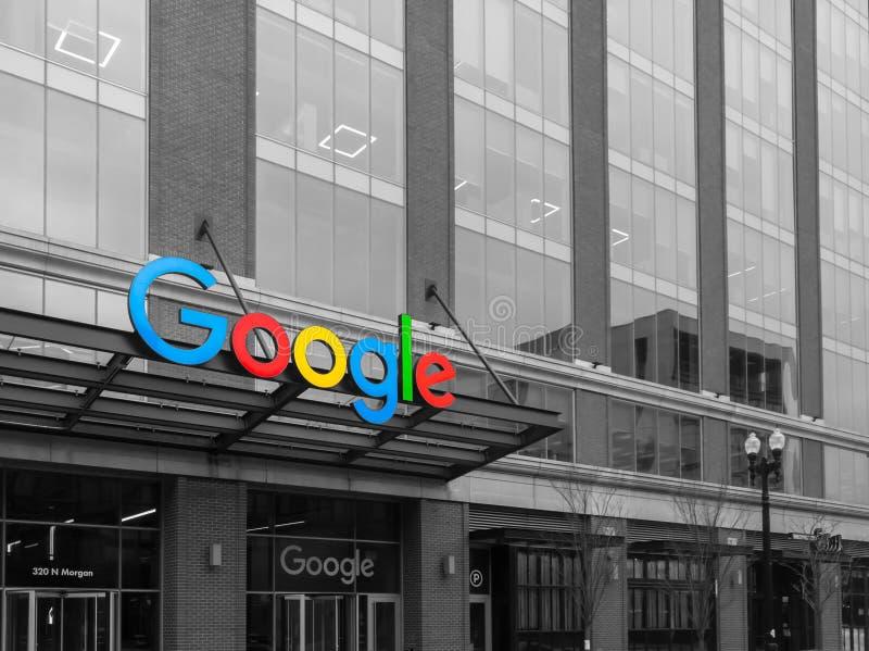 Google företags universitetsområde i Chicago, Desaturated USA royaltyfria bilder