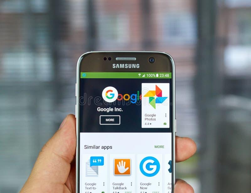 Google Logo and applications. MONTREAL, CANADA - JUNE 23, 2016 : Google logo and applications on Samsung S7 screen stock photos