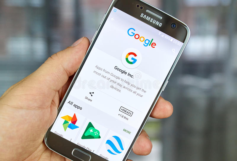 Google Logo and applications. MONTREAL, CANADA - JUNE 23, 2016 : Google logo and applications on Samsung S7 screen royalty free stock images