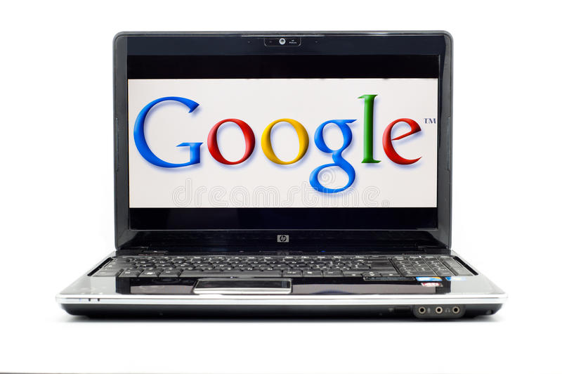 Google Logo on HP laptop. SAN FRANCISCO, SEPTEMBER 8: Google announces Google Instant at SFMOMA on September 8, 2010. Google Instant is a search enhancement that stock photography