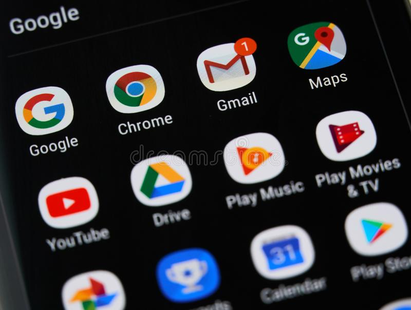 Google logo and icons. MONTREAL, CANADA - APRIL 26, 2019: Google icons gmail, youtube, maps on screen. Google LLC is an American multinational technology company royalty free stock photos