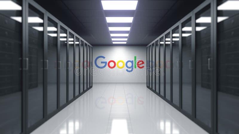 Google logo na ścianie serweru pokój Redakcyjny 3D rendering ilustracji
