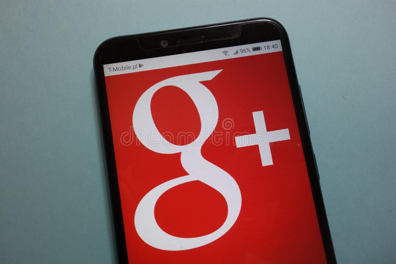 Google+-logo på smartphonen arkivbilder