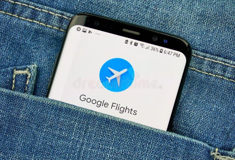 Google loty na telefonu ekranie w kieszeni zdjęcie stock