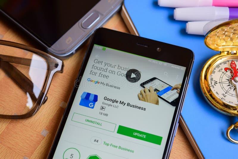 Google Mój biznesu dev zastosowanie na Smartphone ekranie fotografia royalty free