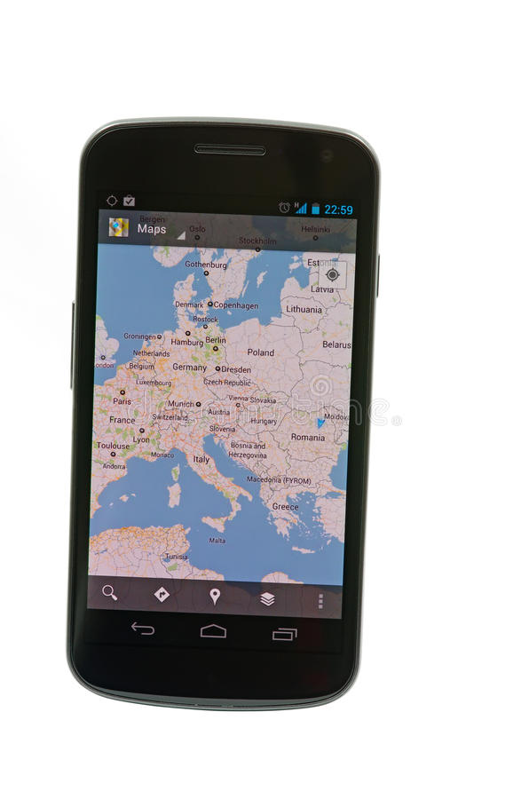 Google maps on Android based device. (Samsung Galaxy Nexus by Google stock photo