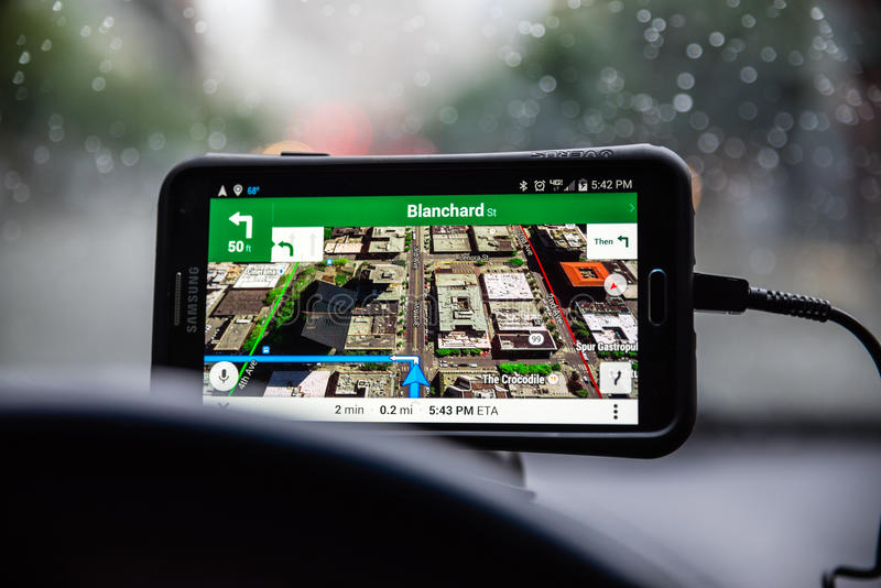 Google Maps. Being used to navigate through the city royalty free stock photos