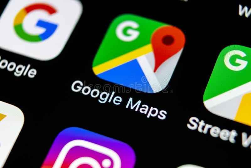 Google Maps podaniowa ikona na Jabłczany X iPhone parawanowym zakończeniu Google Maps ikona Podaniowe Google mapy blackboard bizn obrazy royalty free