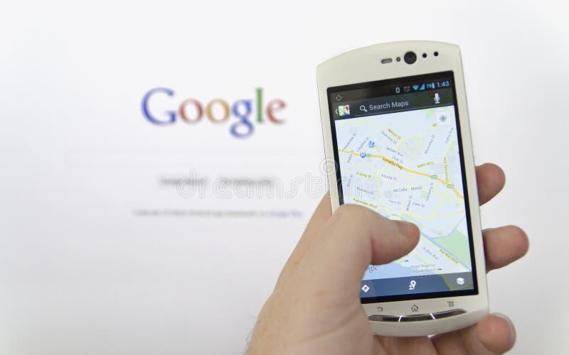Google- Mapsanwendung stockfotografie